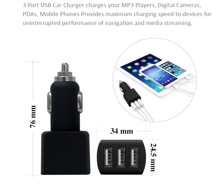 3 Outlet Adapter 5V 4.2A Mobile Car Accessories 3 In 1 Charger Set