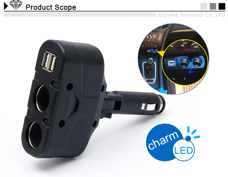 12 volt auto cigarette lighter adapter with usb