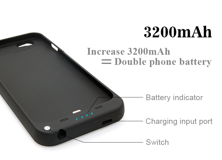 Top quality power bank case 3200mAh mobile phone charger battery case for iphone 6