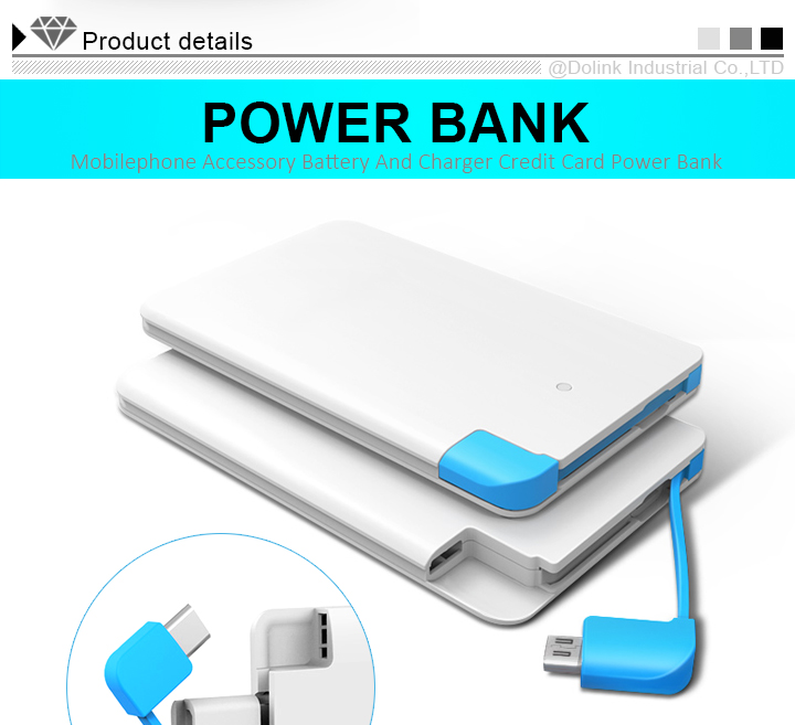 Slim Premium Fast-Charging Portable Charger 2500mAh External Battery Pack Power Bank with built-in Cable