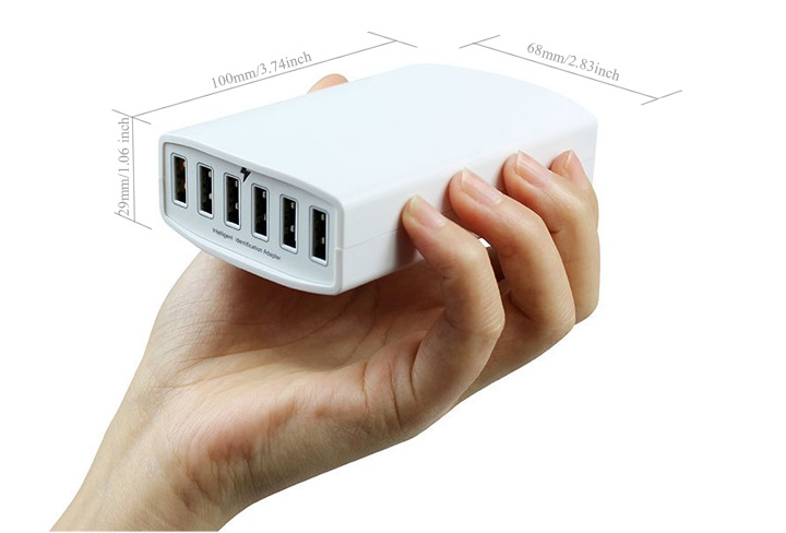 Most Powerful Smart 60W 6 Port 12A Multi USB Charger