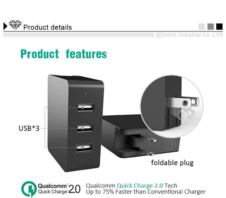 Triple usb ac charger dc adapter 24v 2 5a, usb wall charger