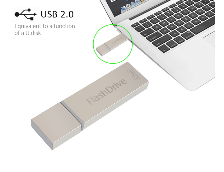 iFlash Device 64GB Dual USB OTG Memory Stick i Flash Drive For Apple iOS Mac PC